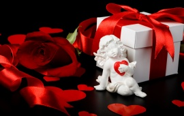Valentine Gift Box And Cupid