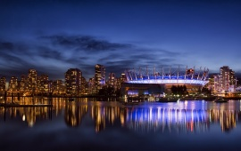 Vancouver City Night Blue Sky