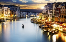 Venice City Italy Sunset Lighting