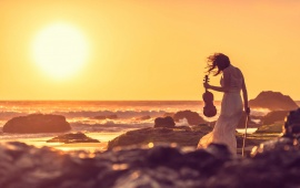 Violinist Summer Beach Sunset