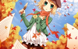 Vocaloid Girl And Autumn Leaves