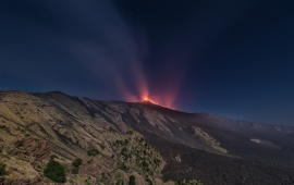Volcano Etna Erupting At Night