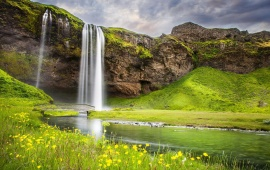 Waterfall River Summer Landscape