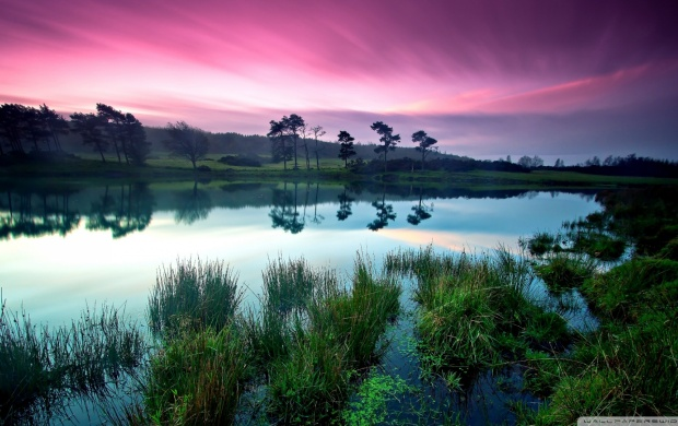 Waterscape With Purple Sky (click to view)
