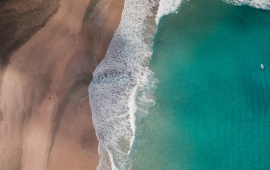 Waves and Beach Seen From Above