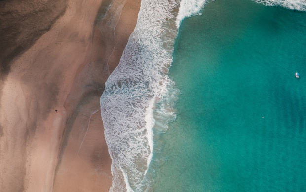 Waves and Beach Seen From Above (click to view)