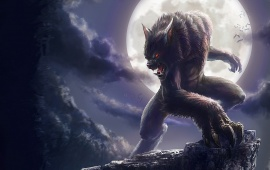 Werewolf And Full Moon