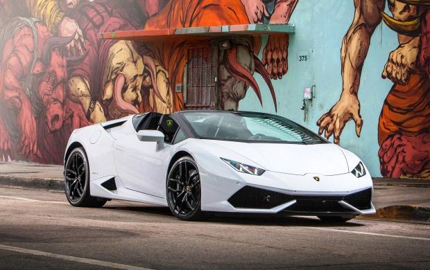 White Lamborghini Huracan LP610-4 Spyder wallpapers