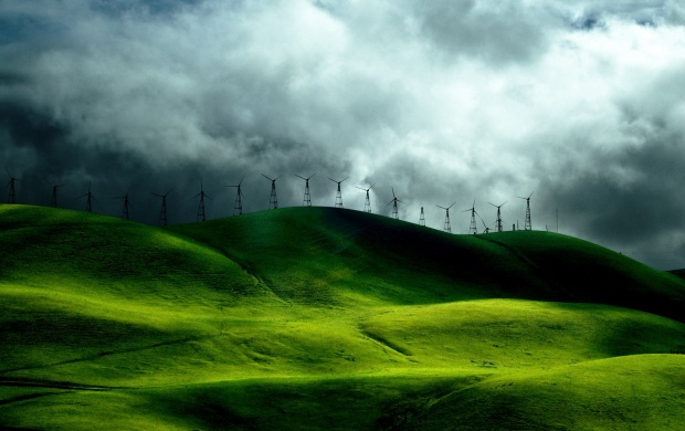 Wind Farm On Green Hills (click to view)