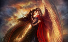 Wings Couple Kiss In Heaven