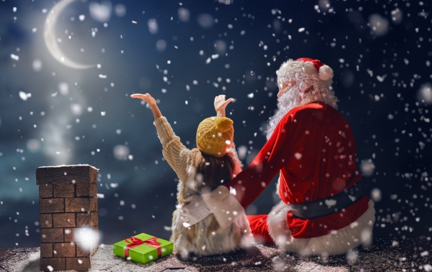 Winter Christmas Santa Claus And Kid (click to view)