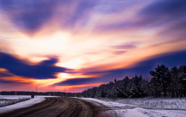 Winter Forest Beauty And Sunset Sky (click to view)