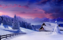 Winter Hut Landscape