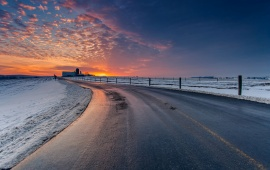Winter Landscape Road Sunset Sky
