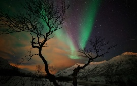 Winter Snow Mountains Aurora Borealis