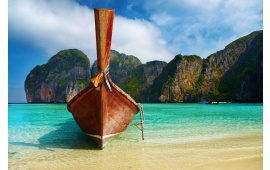 Wooden Boat on Exotic Beach