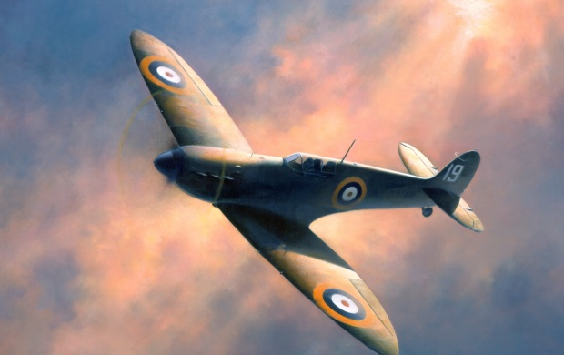 WWII Flying Spitfire Painting (click to view)