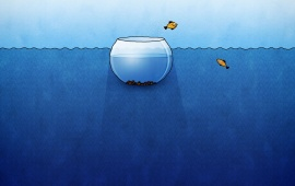 Yellow Fish Jumping From a Fishbowl