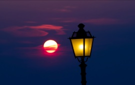 Yellow Lamp And Sunset