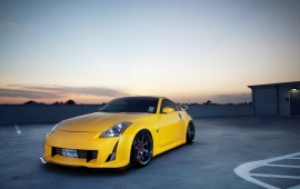 Yellow Nissan 350z On Rooftop