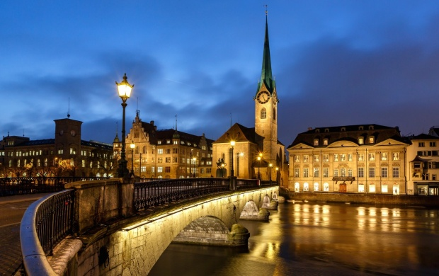 Zurich City Building Lighting Wallpapers