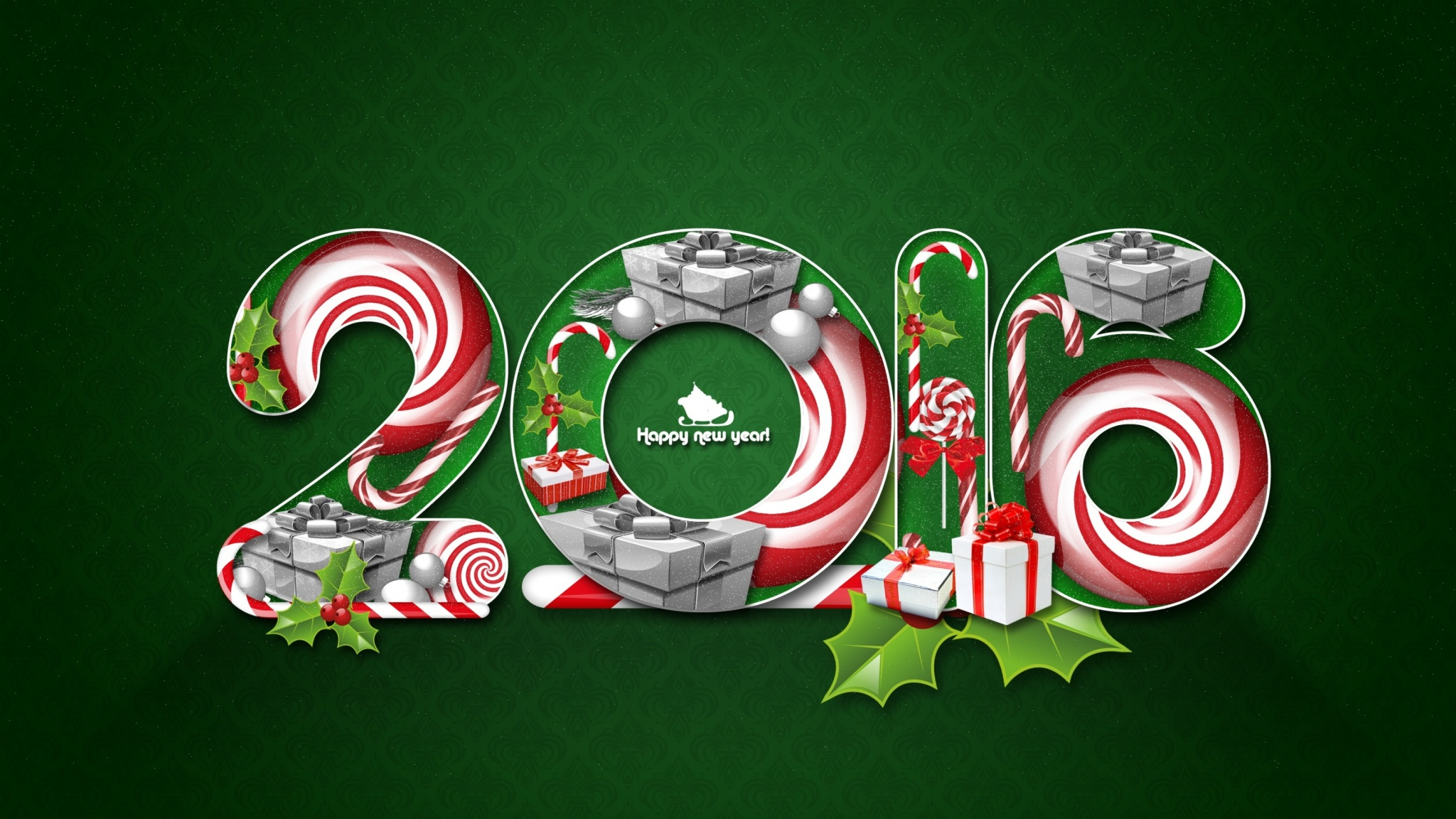 2016 New Year Green Background