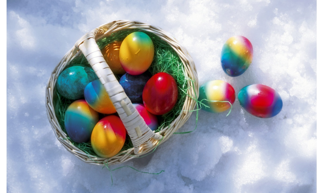 Basket Of Easter Eggs On Snow
