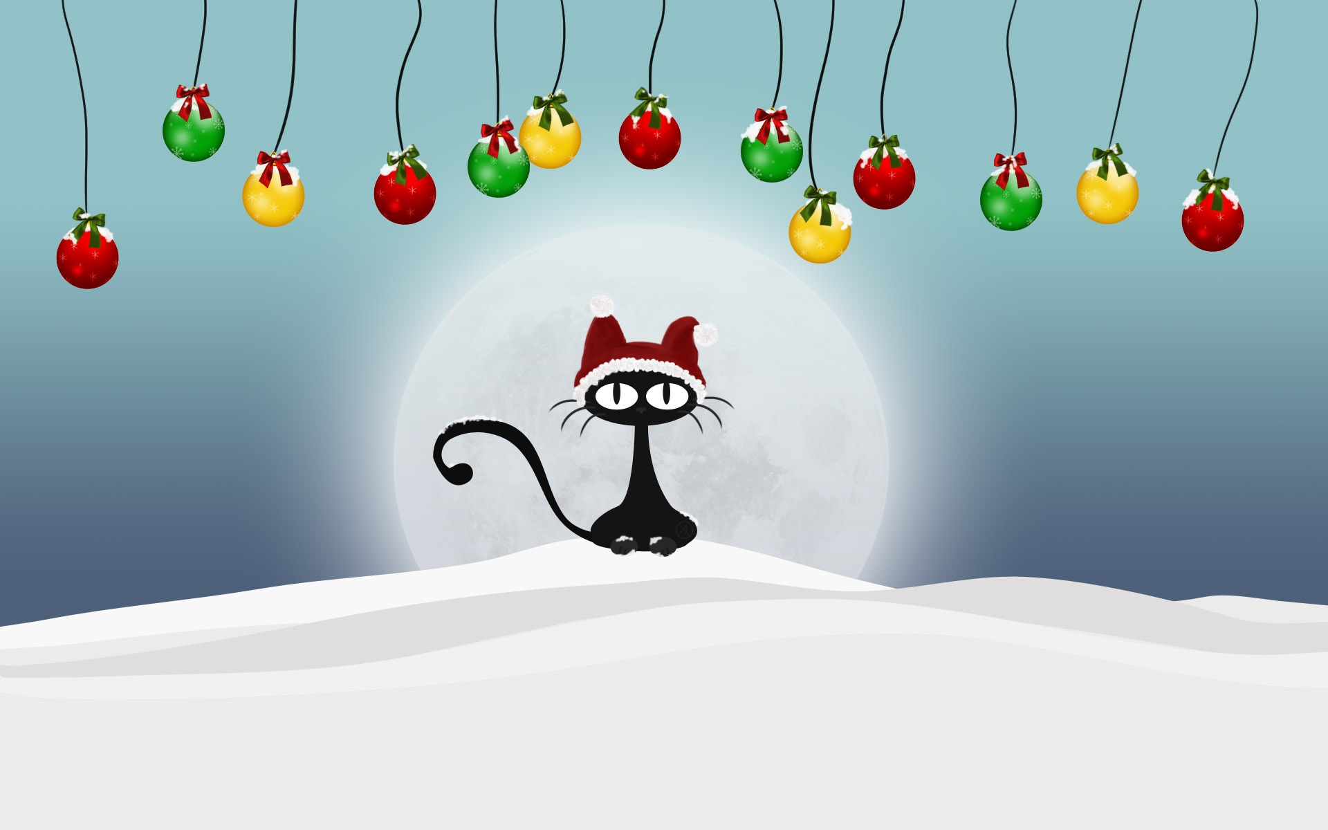Black Cat With Christmas Hat