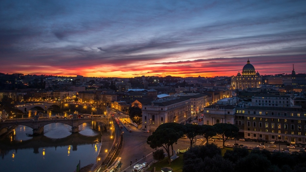 Blazing Sunset Over Rome