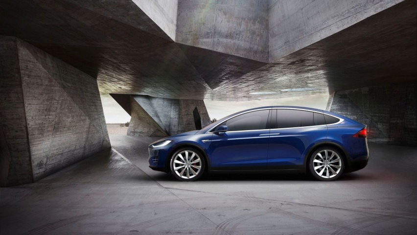Blue Car Tesla Model X 2017 Wallpapers 852x480 134190