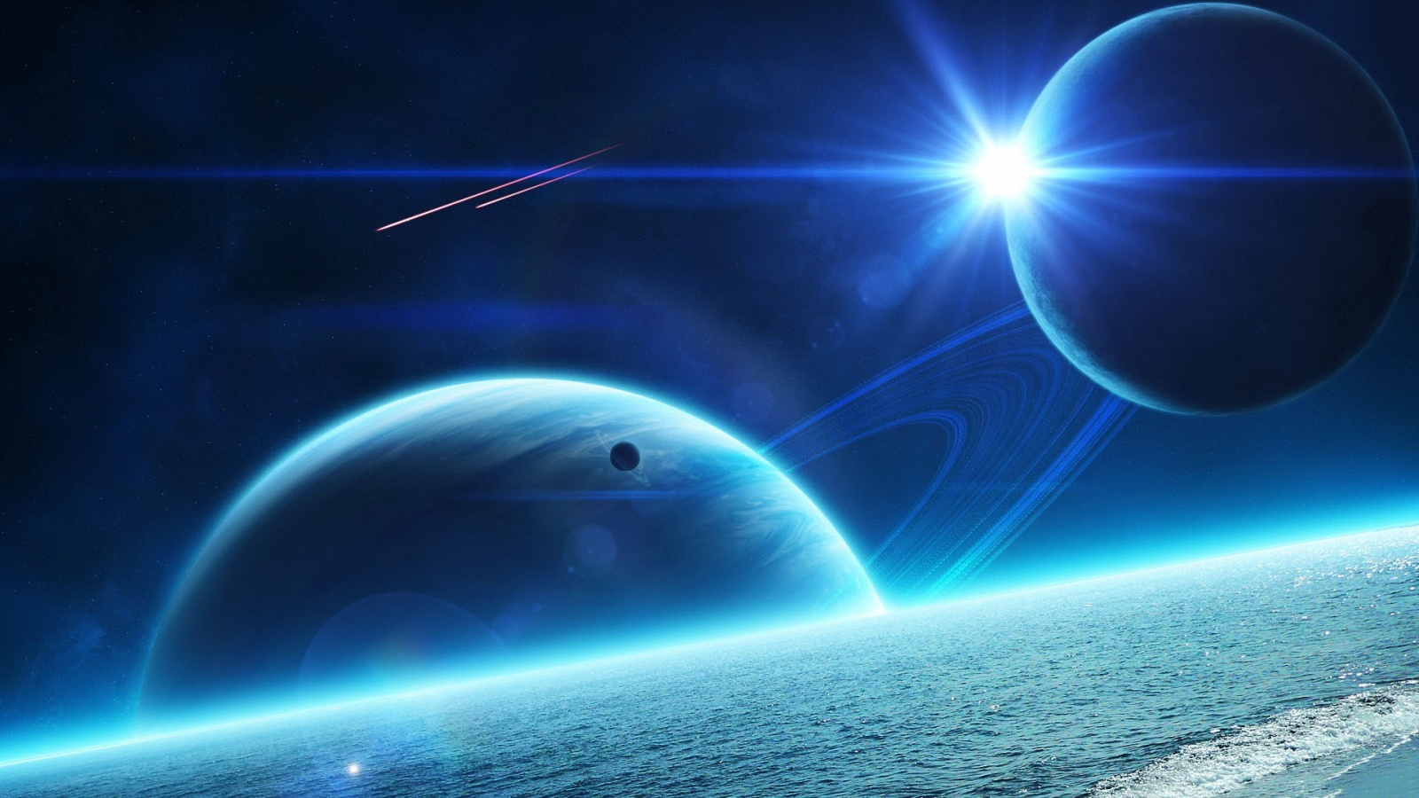 Blue space art wallpapers 1600x900 369923 - Space wallpaper 1600x900 ...