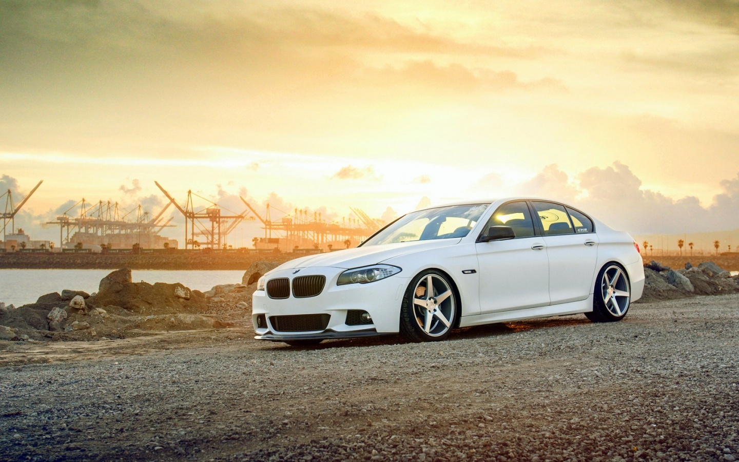 Bmw F10 550i Car Tuning Parking Road Wallpapers 1440x900
