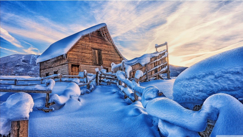 Cabin Covered with Snow