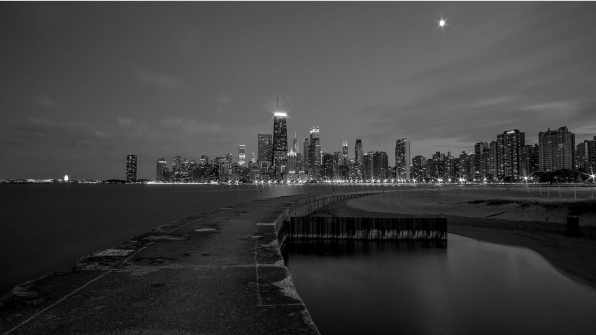 Chicago Black And White Buildings