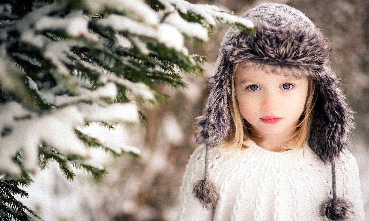 Children girl hat snow winter | 1280 x 768 | download | close