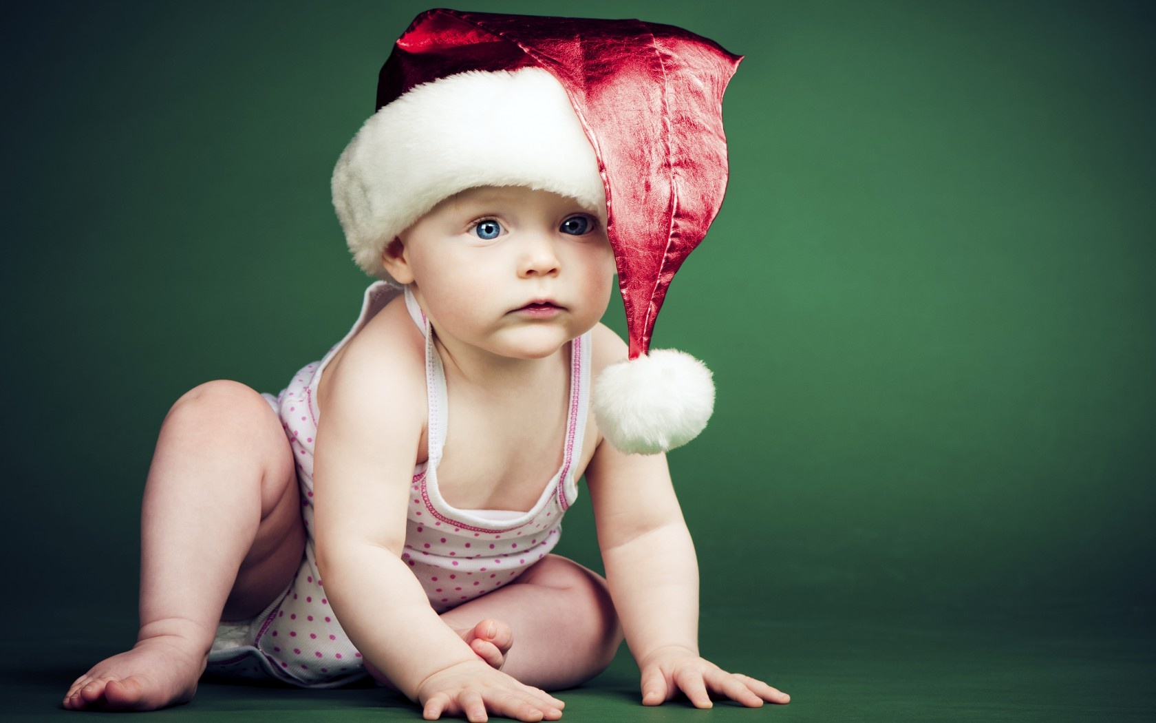 Christmas Baby Green Background