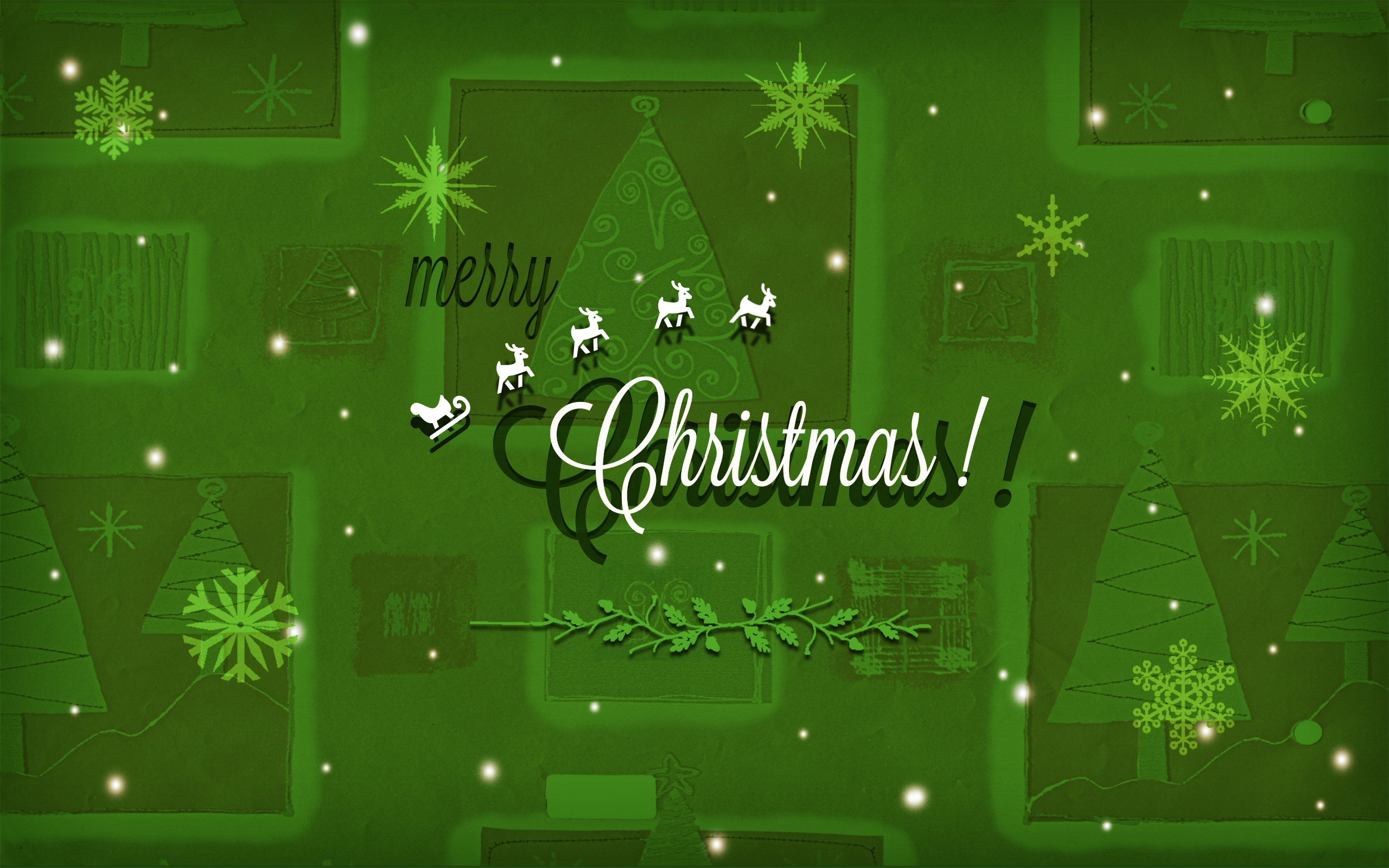 Christmas Snowflakes Green Background