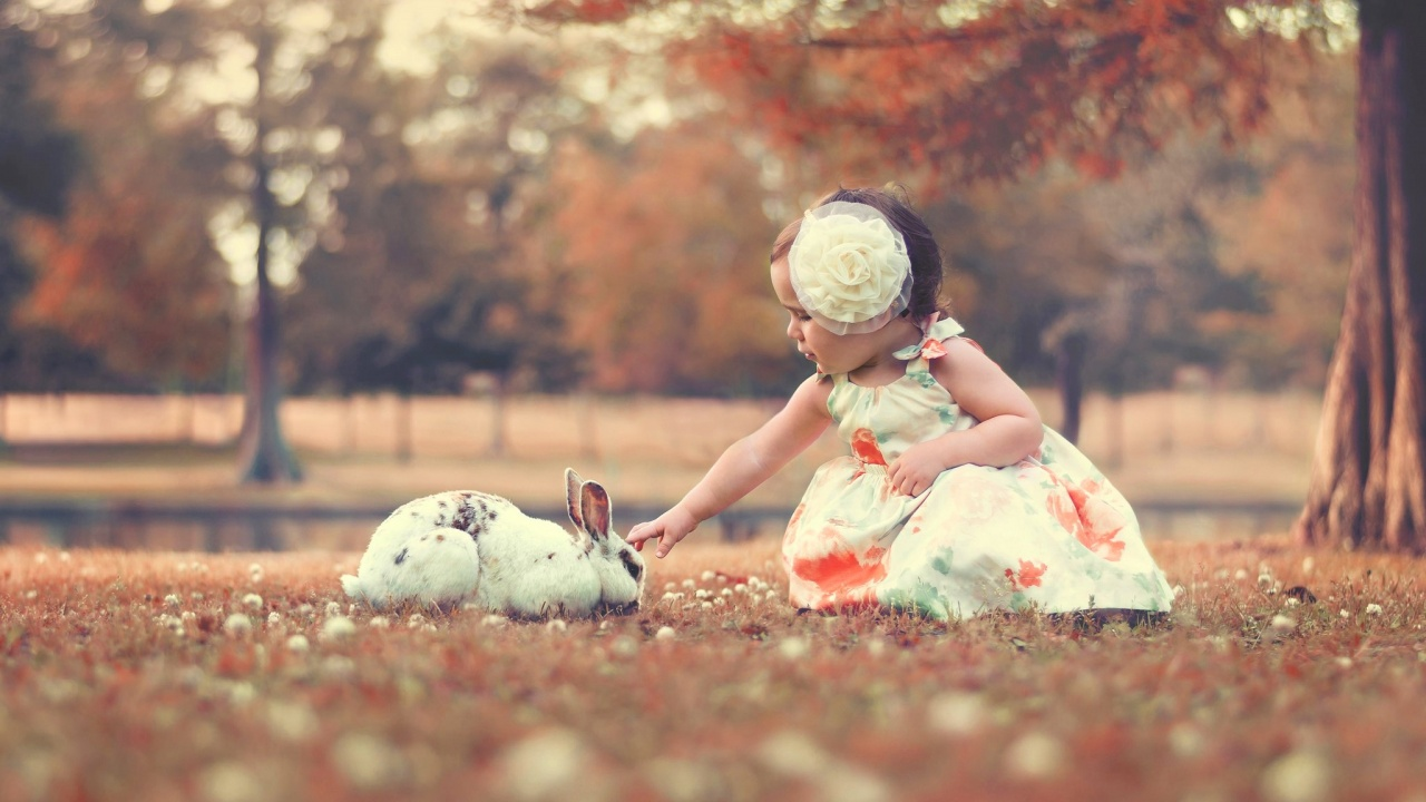 Cute Children With Rabbit