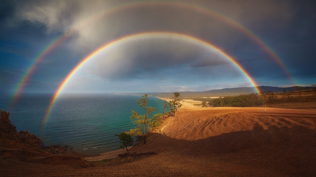 Double Rainbow Over The Beach