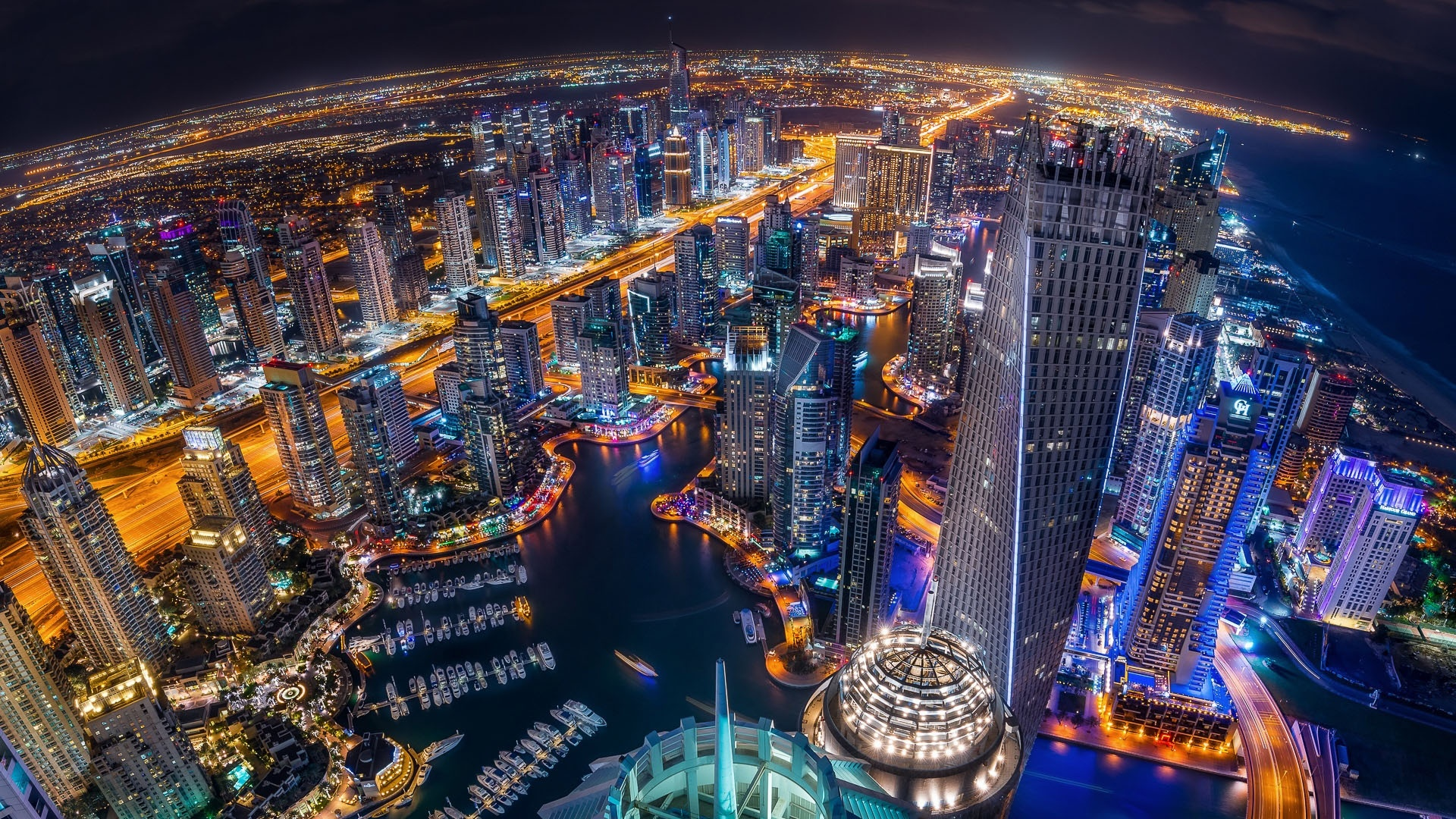 Dubai Marina Evening Night Lights