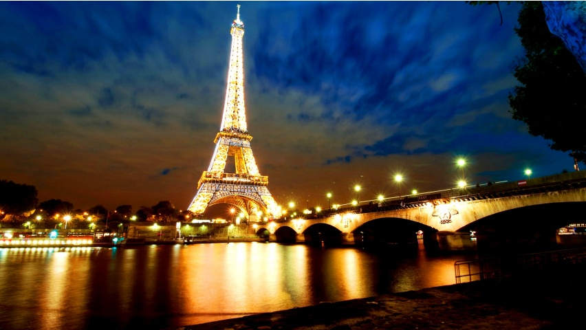 Eiffel Tower Lights River