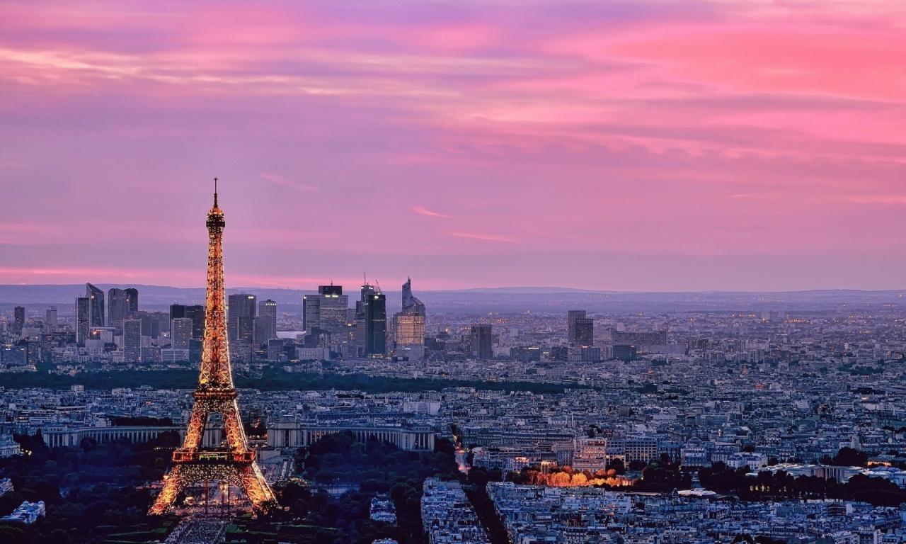 Eiffel tower paris pink sky | 1280 x 768 | download | close