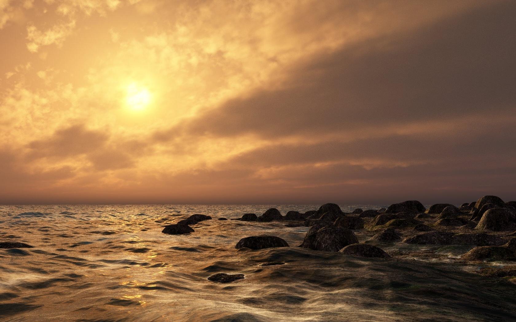 Evening sea nature 1680 x 1050 download close