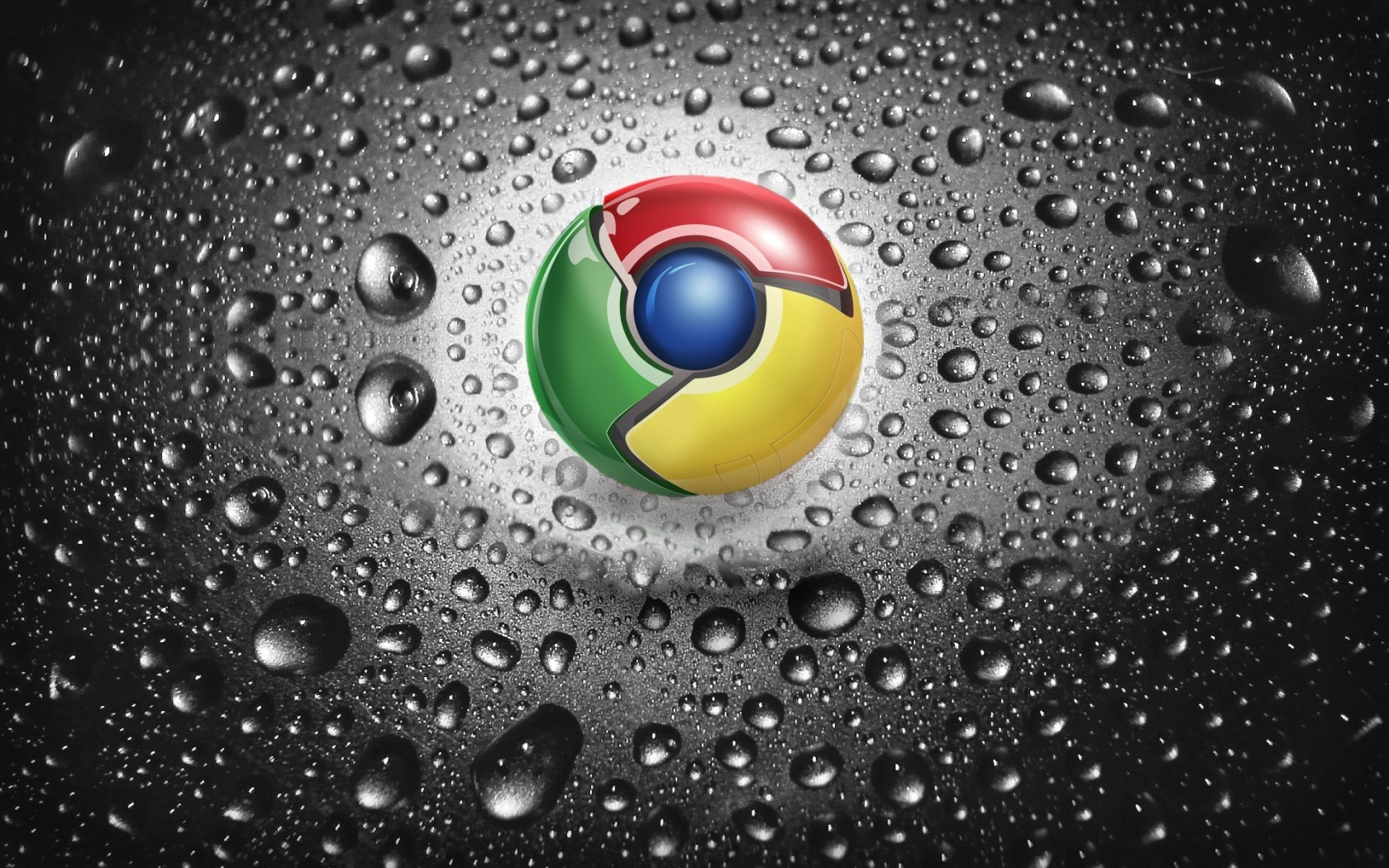 Google Chrome With Water Dropes