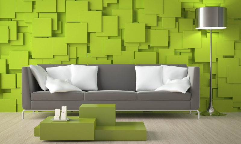 Green 3D Cube Wall And Sofa