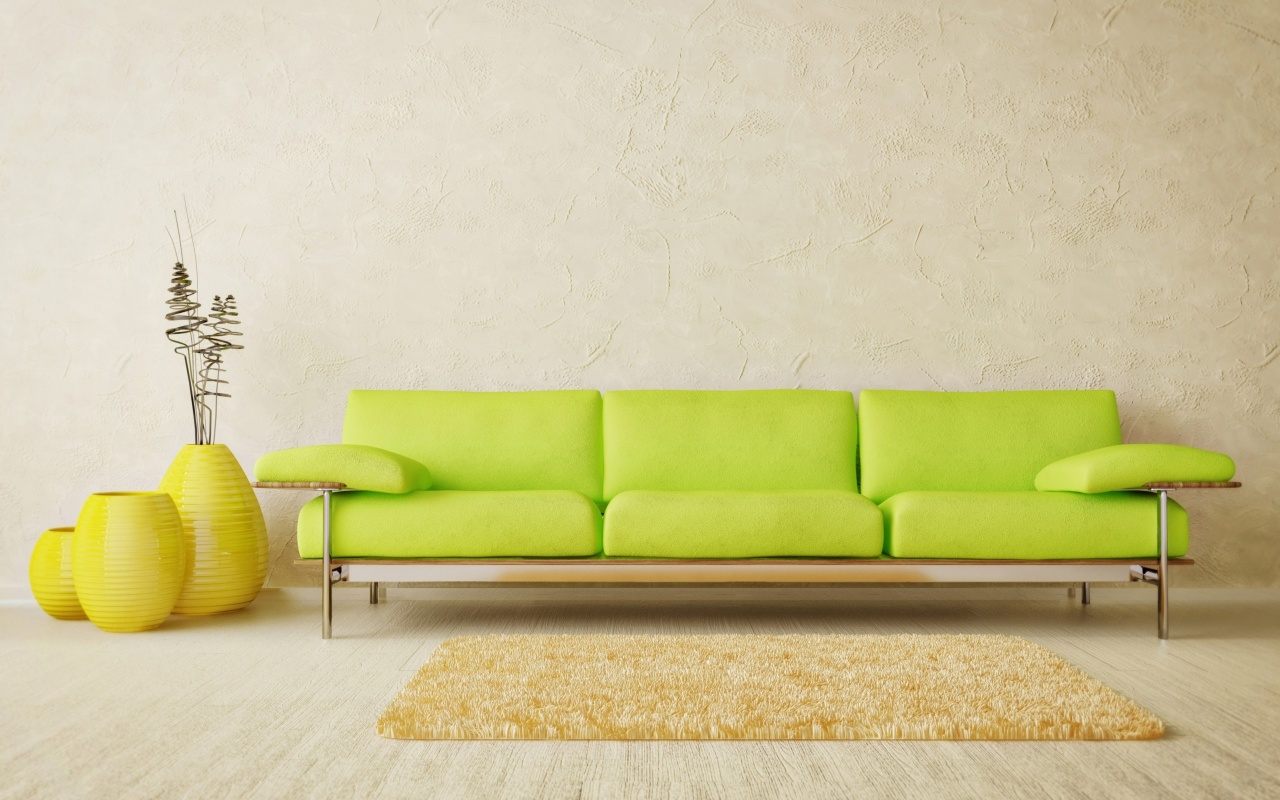 Green Sofa And Yellow Carpet In Room
