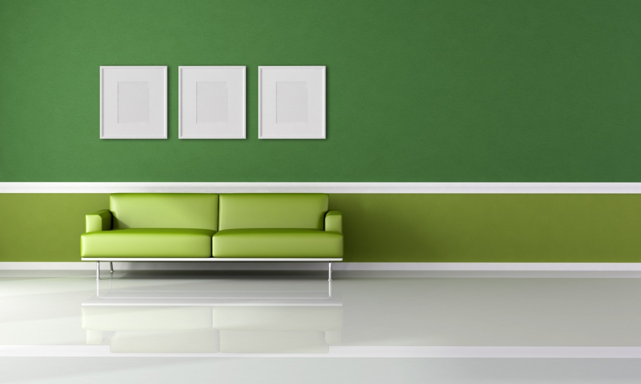 Green Wall And Sofa Wallpapers 1280x768 173038