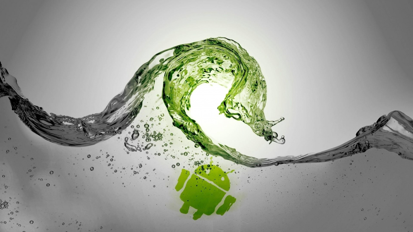 Green Water Waves Android Grey