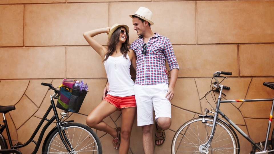 Happiness Couple With Bicycles