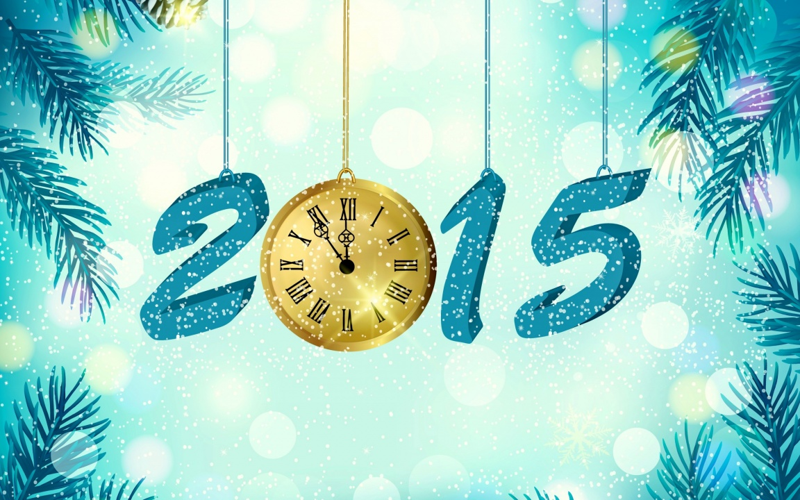 Happy New Year 2015 With Golden Watch